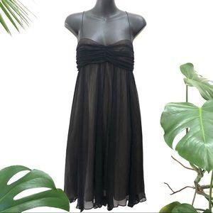 Morrissey 100% Silk Black Party Dress Flowy knee